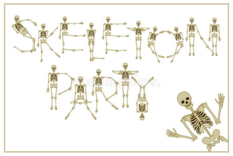 El partido del esqueleto de letras con la fuente de los esqueletos del baile, sistema de dejó stock de ilustración