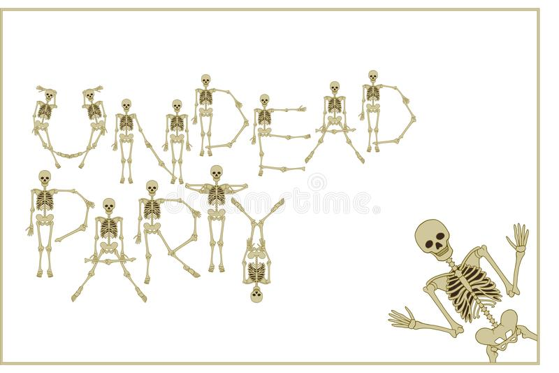El partido del esqueleto de letras con la fuente de los esqueletos del baile, sistema de dejó libre illustration