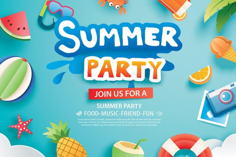 El partido del verano con el papel cortó símbolo y el icono para el backg de la invitación ilustración del vector