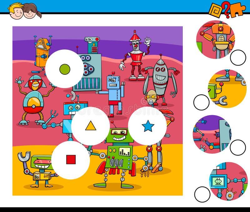 El partido junta las piezas de rompecabezas con los robots ilustración del vector