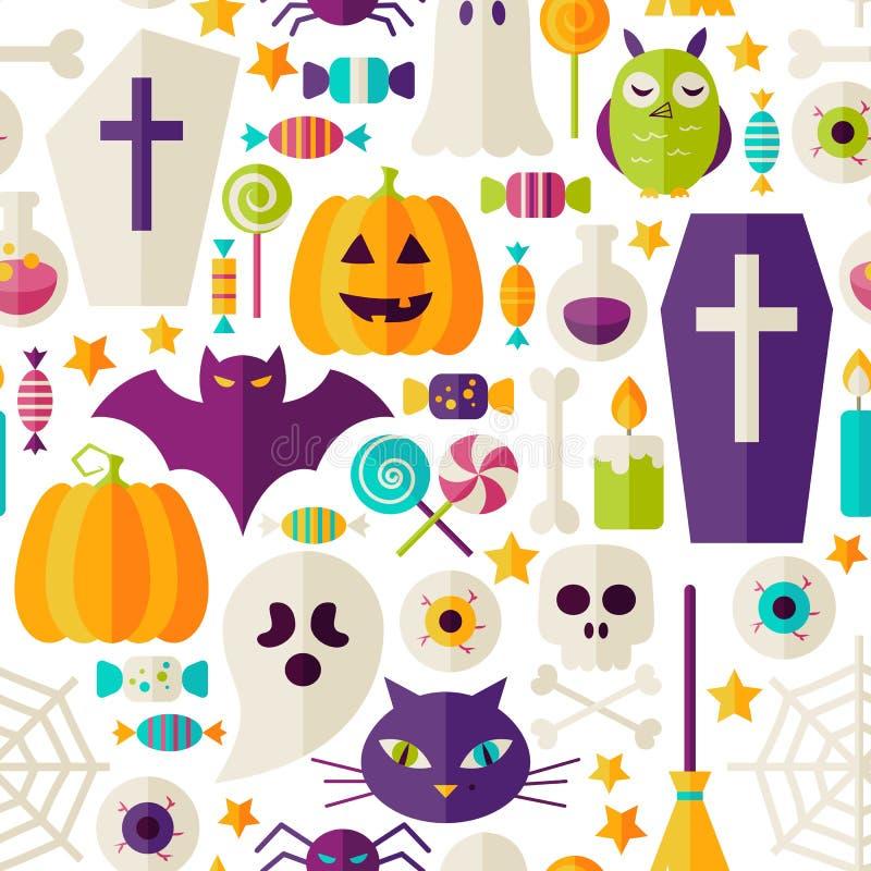 El partido plano de Halloween se opone el modelo inconsútil sobre blanco ilustración del vector