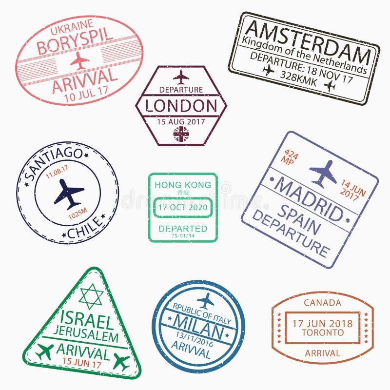 El pasaporte de la visa sella para el viaje a Canadá, Ucrania, Países Bajos, Gran Bretaña, Chile, Hong Kong, España, Israel, Ital ilustración del vector