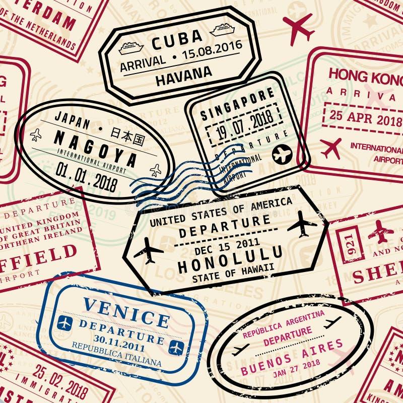 El pasaporte sella el modelo stock de ilustración
