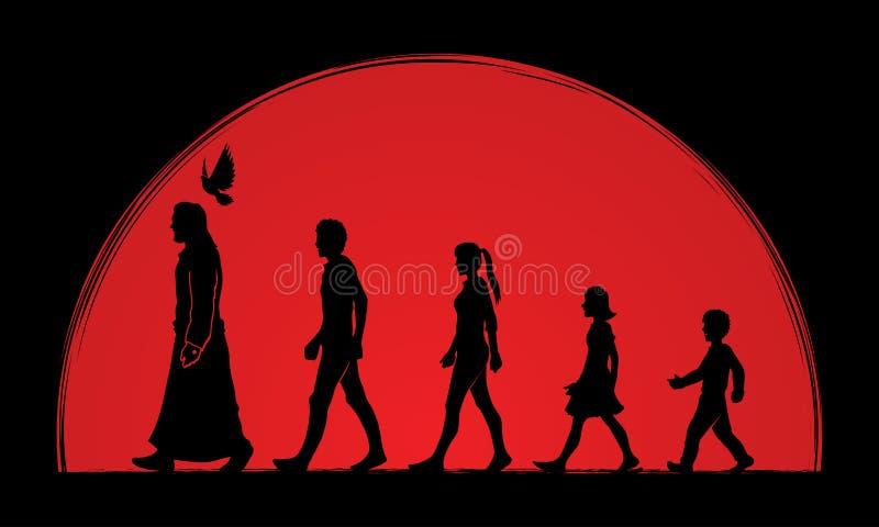 El paseo con Jesús, sigue a Jesús stock de ilustración