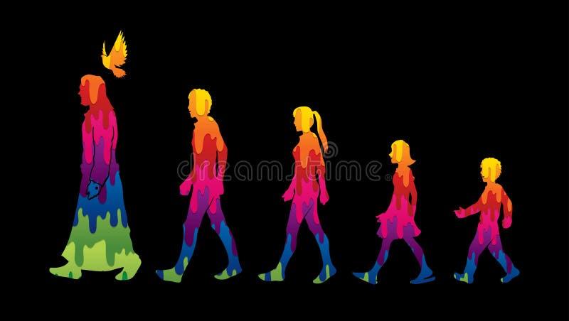 El paseo con Jesús, sigue a Jesús ilustración del vector