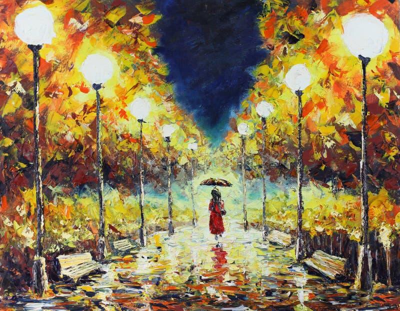 El paseo del otoño en el parque la noche, luces, bancos, amarillo se va stock de ilustración