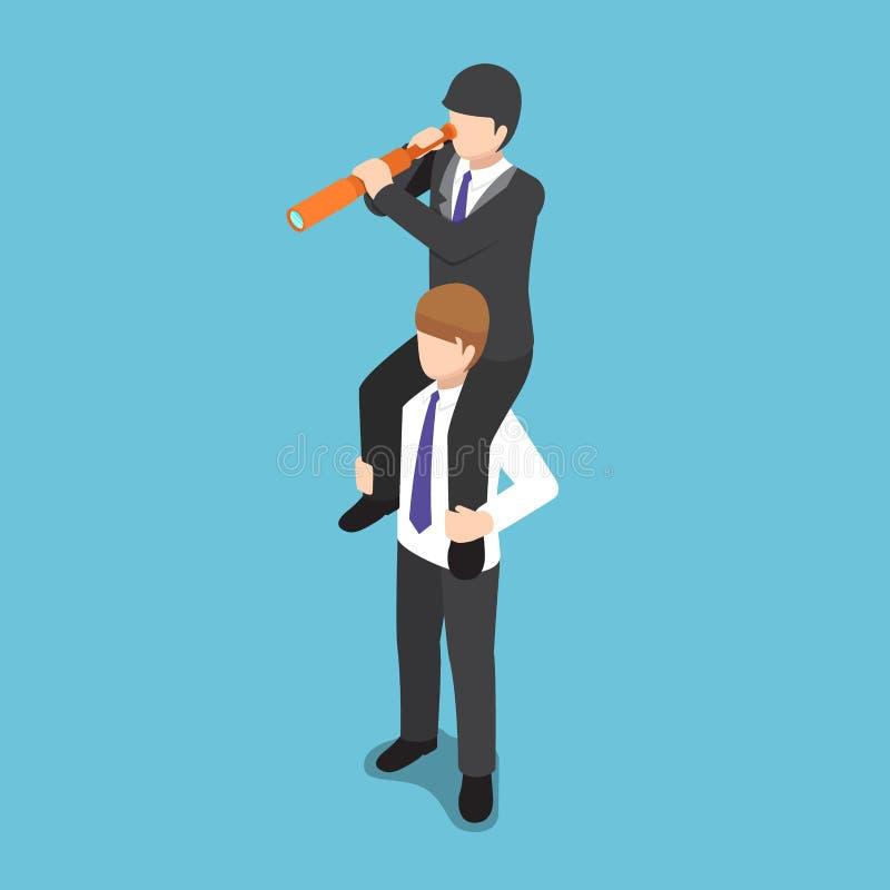 El paseo isométrico del hombre de negocios en su hombro del colega y el uso espían libre illustration