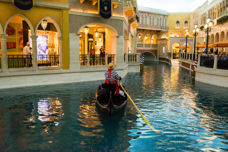 El paseo veneciano de la góndola de Las Vegas fotografía de archivo
