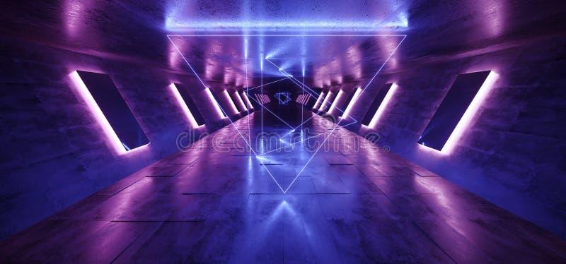 El pasillo concreto Hall Purple Blue Pink Triangle del túnel del Grunge extranjero oscuro del neón de Sci que brillaba intensamen stock de ilustración