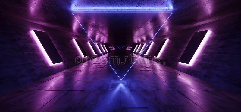 El pasillo concreto Hall Purple Blue Pink Triangle del túnel del Grunge extranjero oscuro del neón de Sci que brillaba intensamen libre illustration
