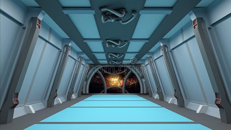El pasillo de Sci fi con la vista de la galaxia 3d del espacio rinde libre illustration