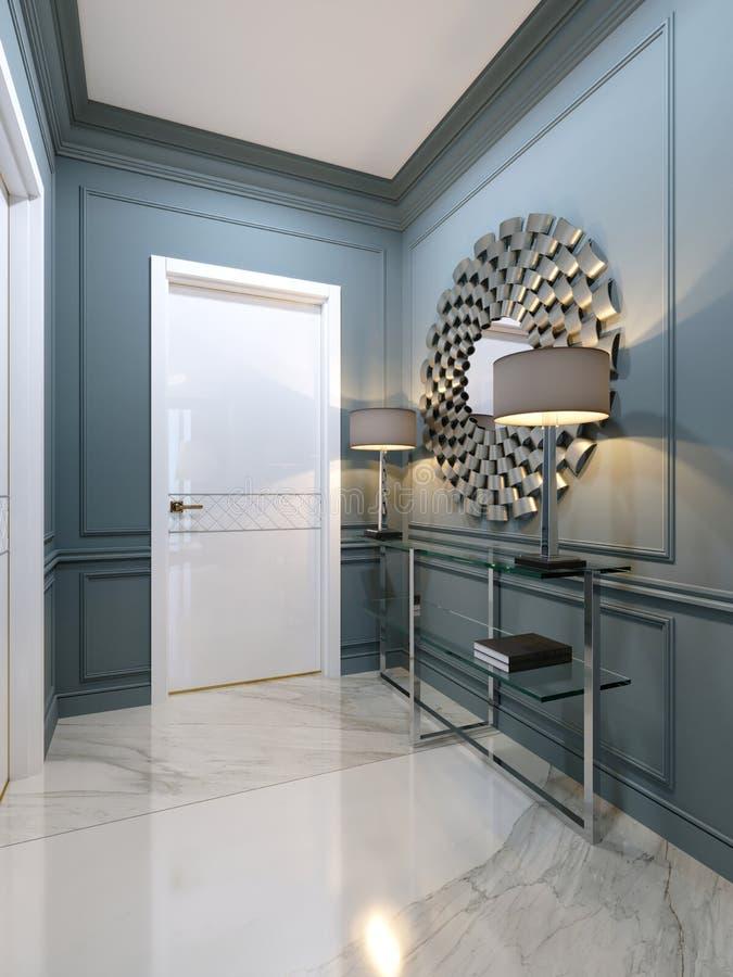 El pasillo en el apartamento con una consola moderna del metal con g stock de ilustración