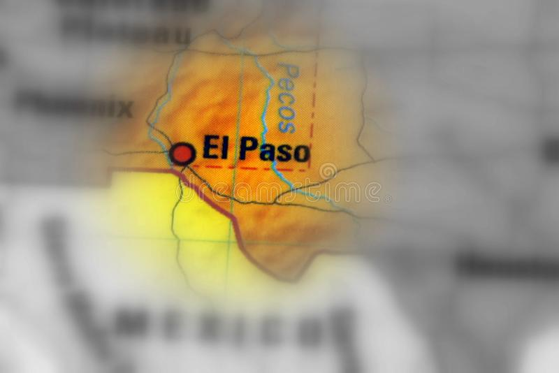 El Paso, Texas, United States. El Paso, a city in and the seat of El Paso County, Texas, United States black and white selective focus stock images