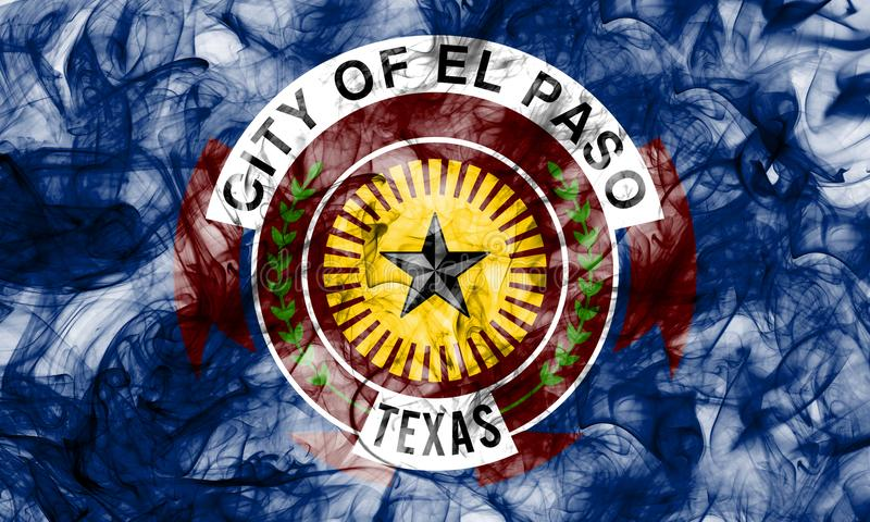 El Paso city smoke flag, Texas State, United States Of America.  stock photo