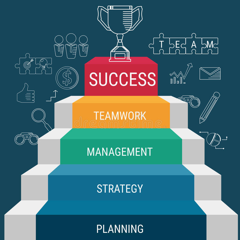 El paso de la escalera va al trofeo y al éxito Escalera al éxito libre illustration