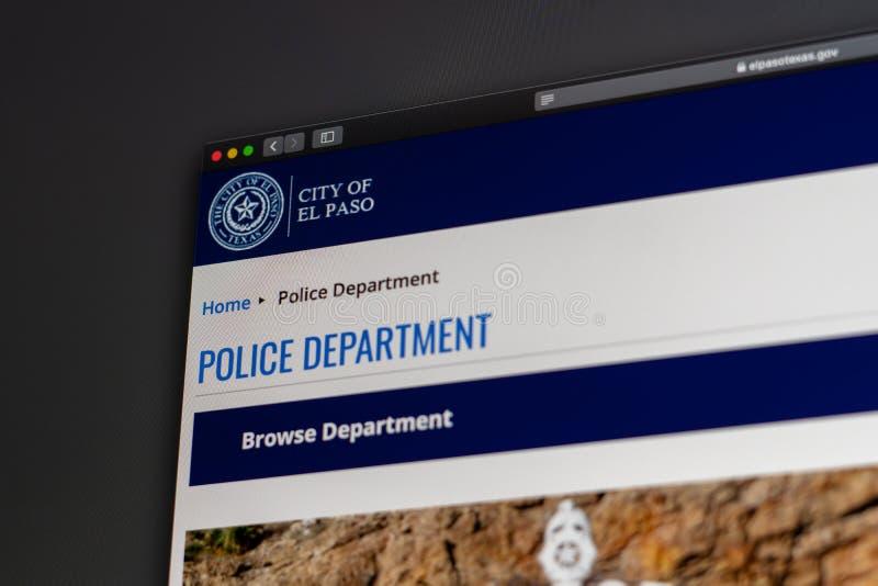 El Paso Police Department website homepage. Close up of Police Dept logo. Miami / USA - 05.11.2019: El Paso Police Department website homepage. Close up of stock images