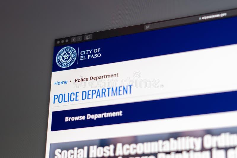 El Paso Police Department website homepage. Close up of Police Dept logo. Miami / USA - 05.11.2019: El Paso Police Department website homepage. Close up of stock image