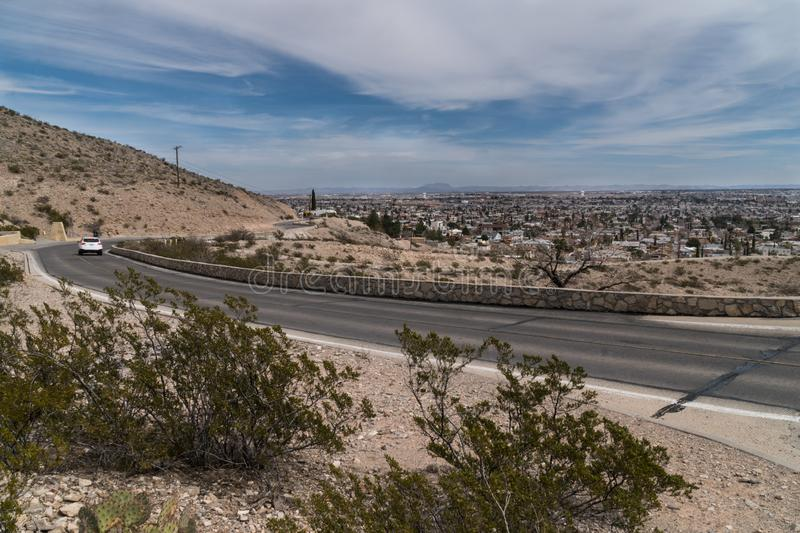 El Paso scenic drive view in Texas. The El Paso Texas scenic drive gives good views of El Paso and the surrounding area both in the USA and Mexico stock photo