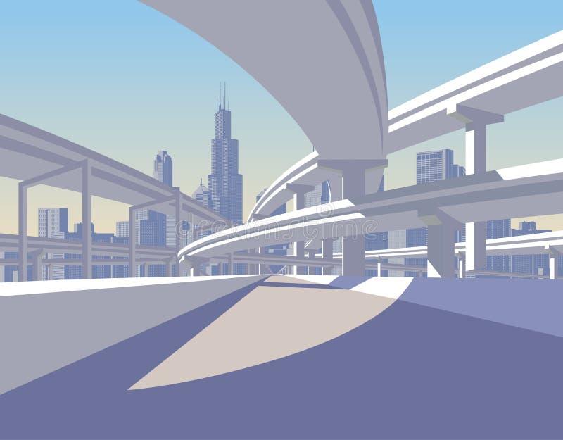 El paso superior de la carretera y el horizonte de la ciudad en sol se encienden ilustración del vector