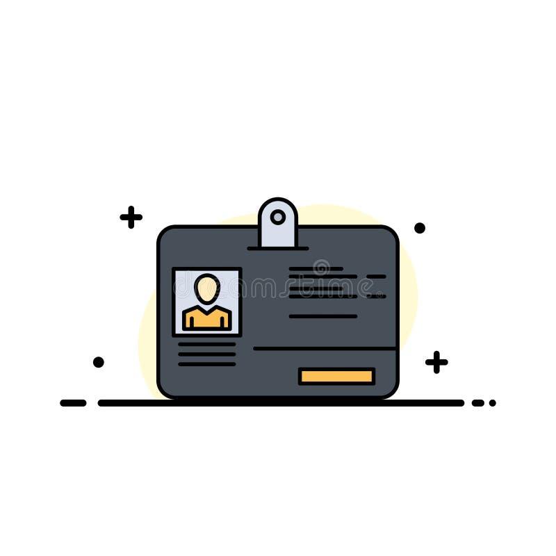 El paso, tarjeta, identidad, línea plana del negocio de la identificación llenó la plantilla de la bandera del vector del icono libre illustration