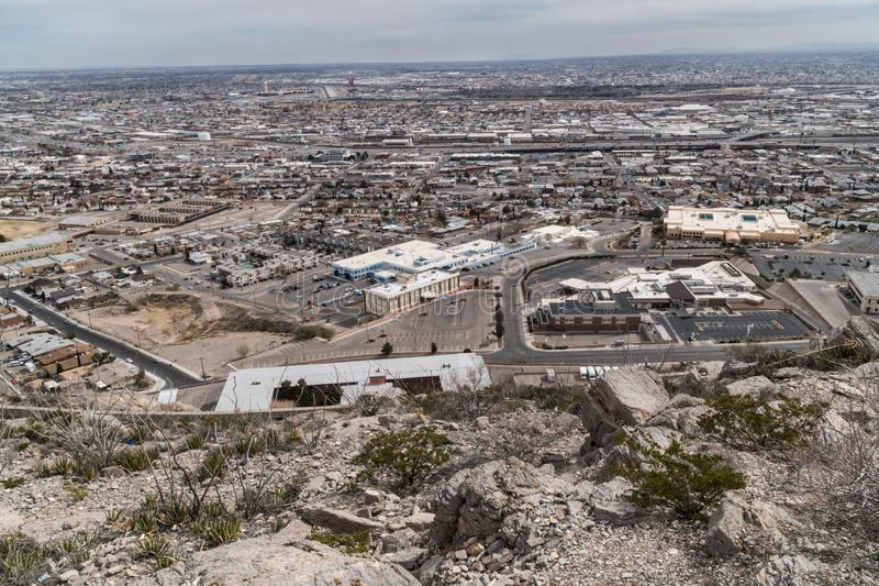 El Paso Texas as seen from up high. El Paso Texas as seen from the Franklin Mountain scenic drive el-paso mexico usa landscape outdoor overlook seeing sight site royalty free stock photo