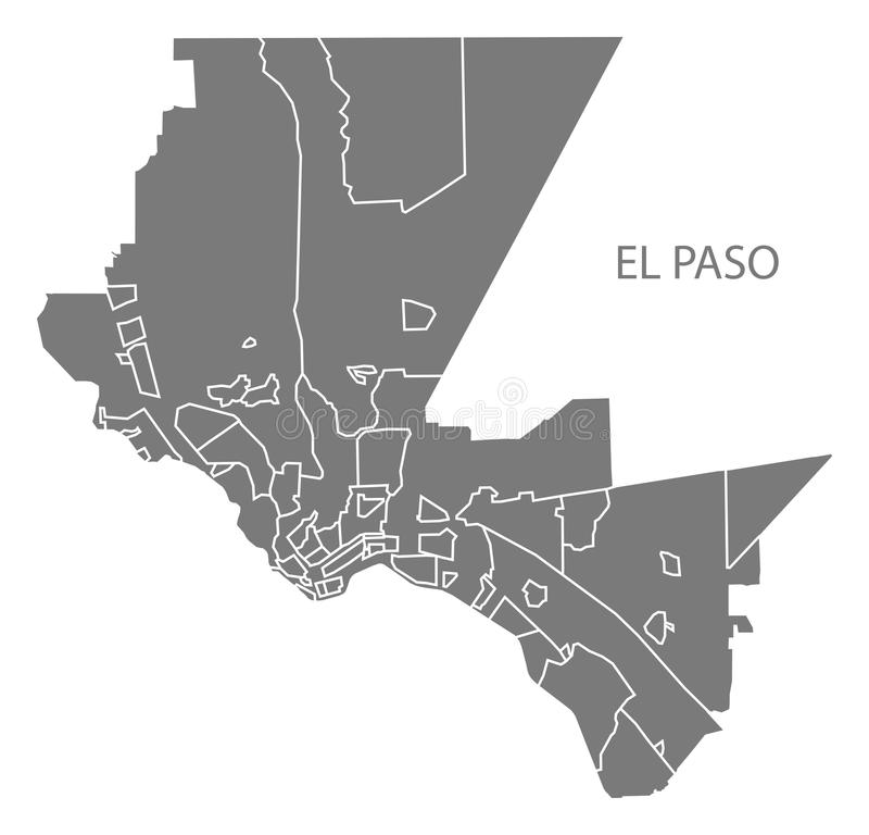 Free El Paso Texas City Map With Neighborhoods Grey Illustration Silhouette Shape Stock Photography - 112570742