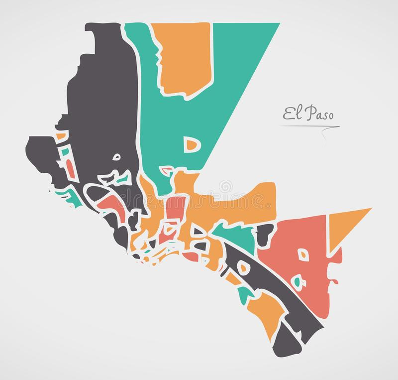 El Paso Texas Map with neighborhoods and modern round shapes. Illustration stock illustration