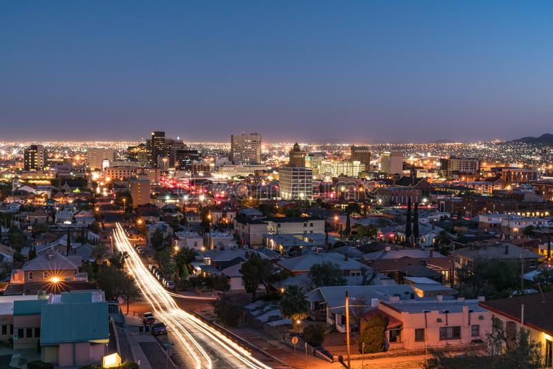 El Paso, Texas Night Skyline fotografia stock