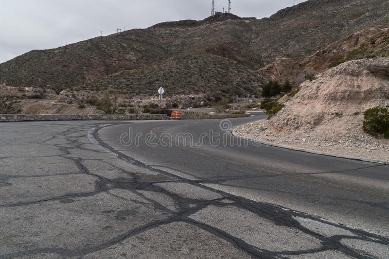 The El Paso, Texas scenic overlook road, Franklin Mountain royalty free stock image