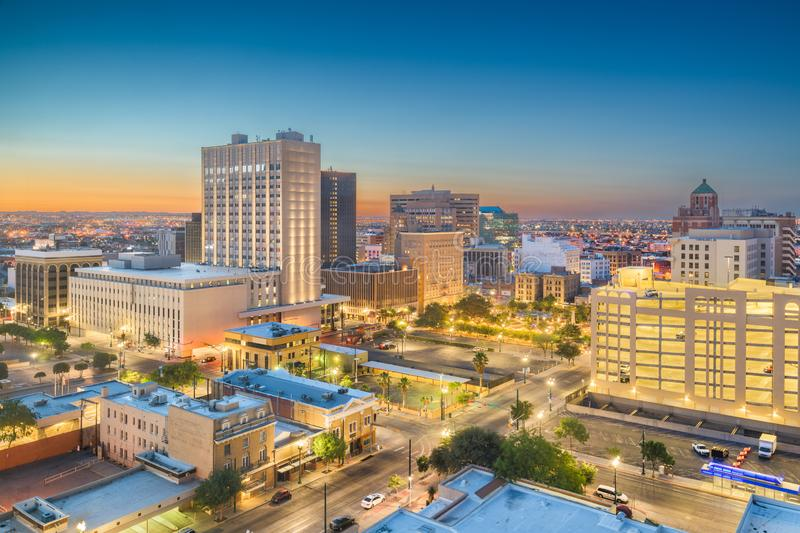 El Paso, Texas, USA Downtown Skyline. El Paso, Texas, USA  downtown city skyline at dusk with Juarez, Mexico in the distance stock photography