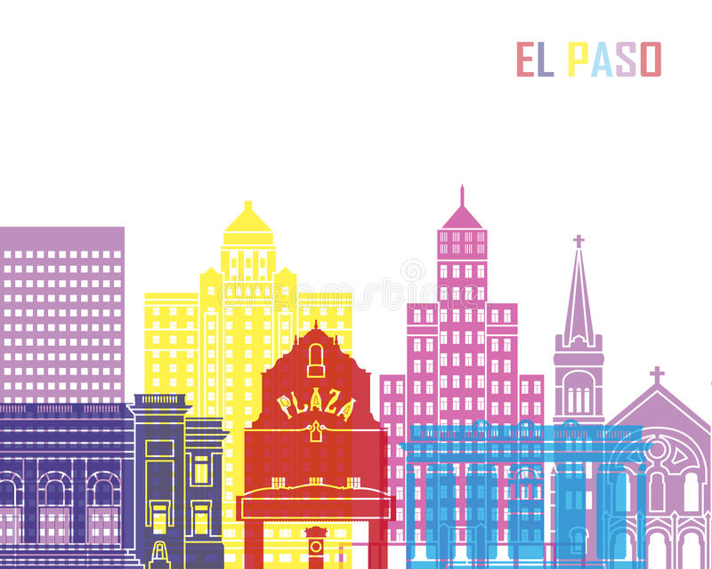 El Paso_V2地平线流行音乐 库存例证