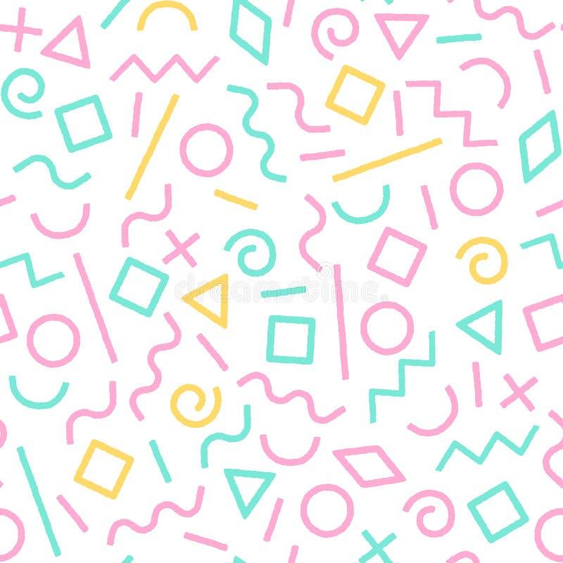 El pastel coloreó las formas geométricas abstractas modelo inconsútil, vector de Memphis ilustración del vector