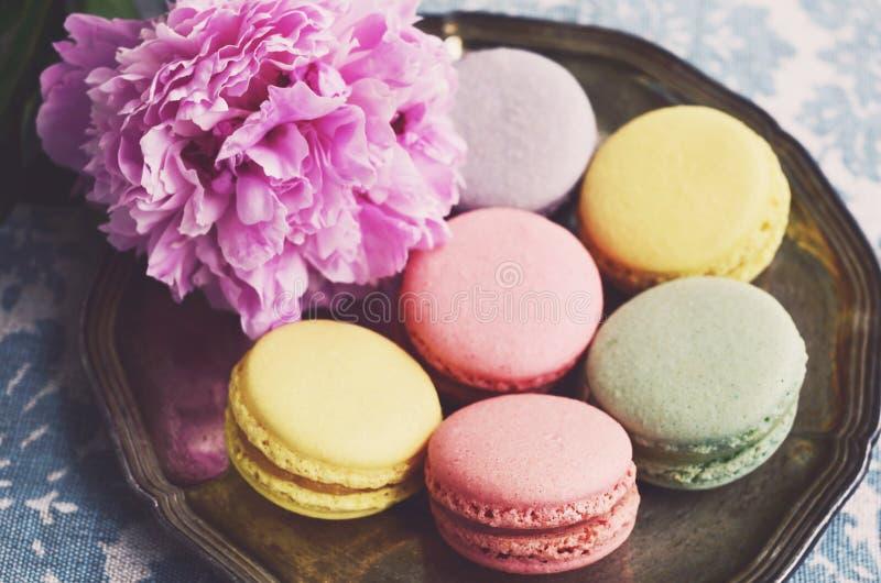 El pastel coloreó los macarrones en una flor de la bandeja y de la peonía del metal imagen de archivo libre de regalías