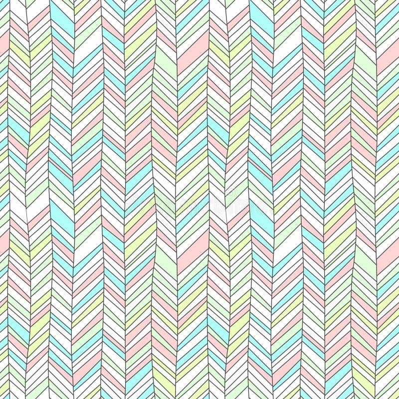 El pastel coloreado texturizó el modelo inconsútil abstracto geométrico del ornamento del galón, vector ilustración del vector