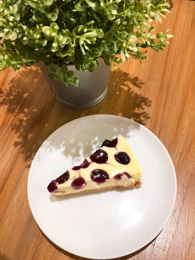 El pastel de queso del arándano está en el plato blanco y hay un pequeño árbol en la maceta Todos fueron colocados en la tabla de fotos de archivo libres de regalías