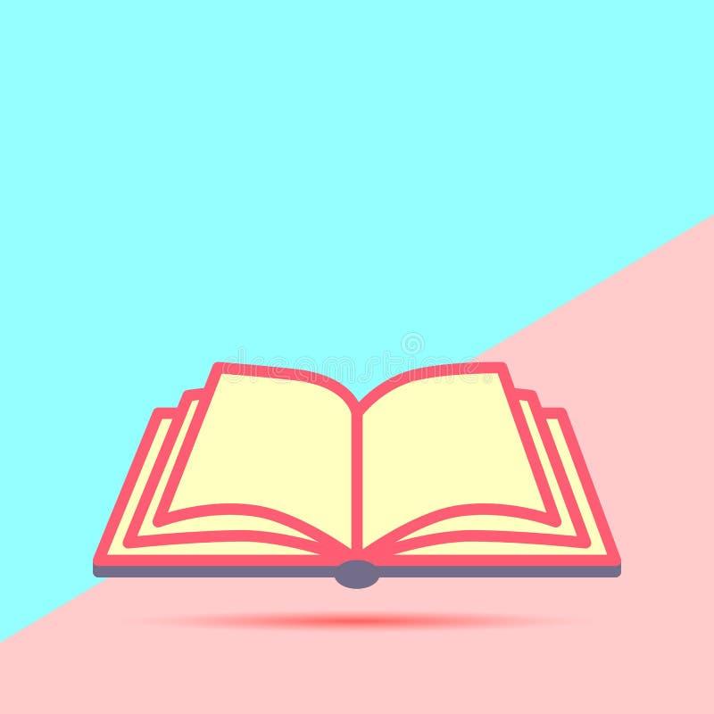 el pastel moderno de la endecha plana coloreó el icono abierto del libro con la sombra en azul stock de ilustración