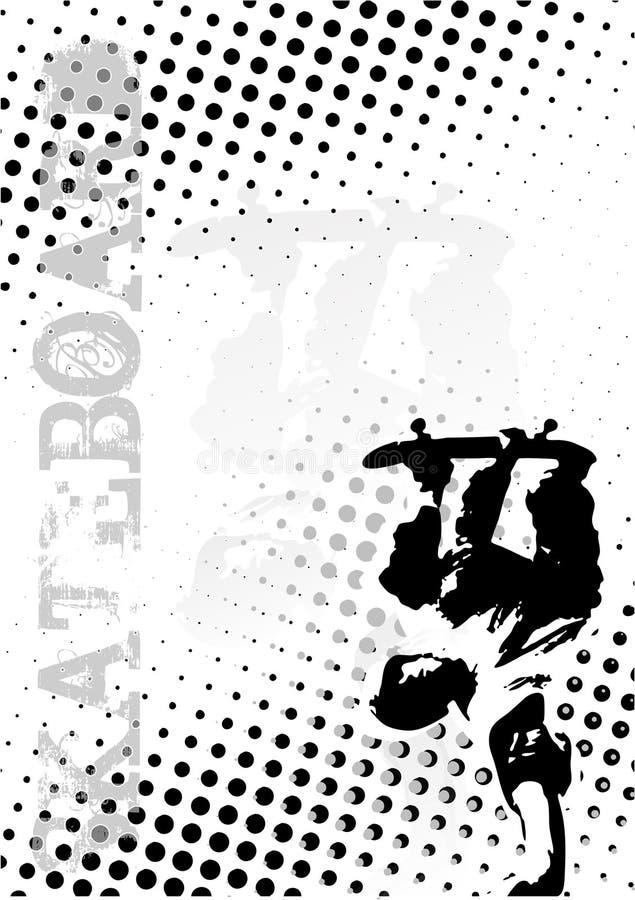 El patín puntea el fondo del cartel ilustración del vector