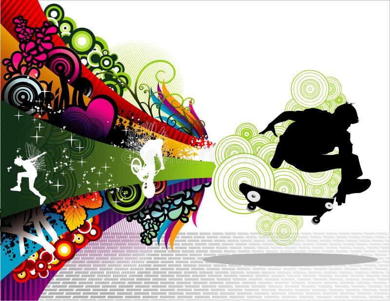 El patinador se divierte vector foto de archivo