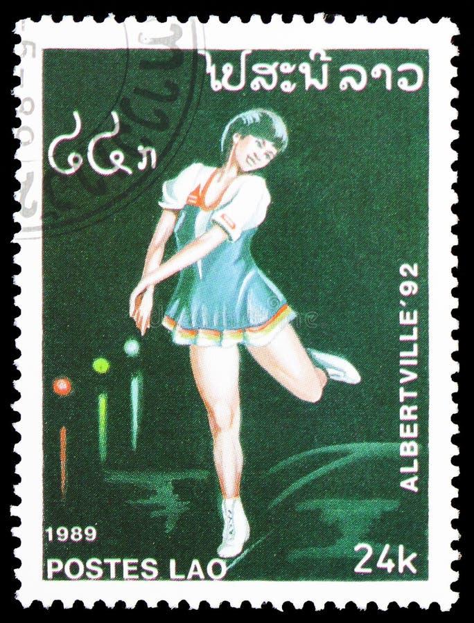 El patinaje artístico (femenino), serie de las Olimpiadas, circa 1989 fotos de archivo