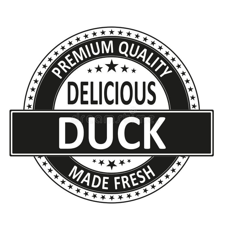 El pato delicioso de la calidad superior hizo el sello fresco de la insignia stock de ilustración