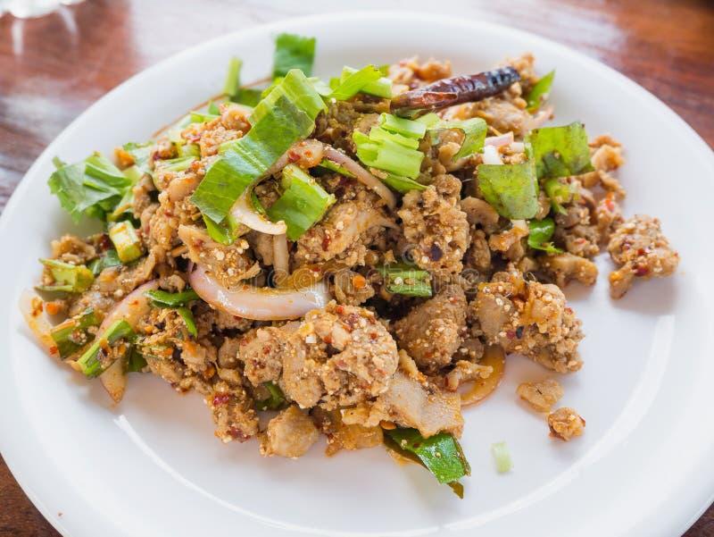 El pato pica con el gusto picante, PED tailandés de Larb de la comida foto de archivo libre de regalías