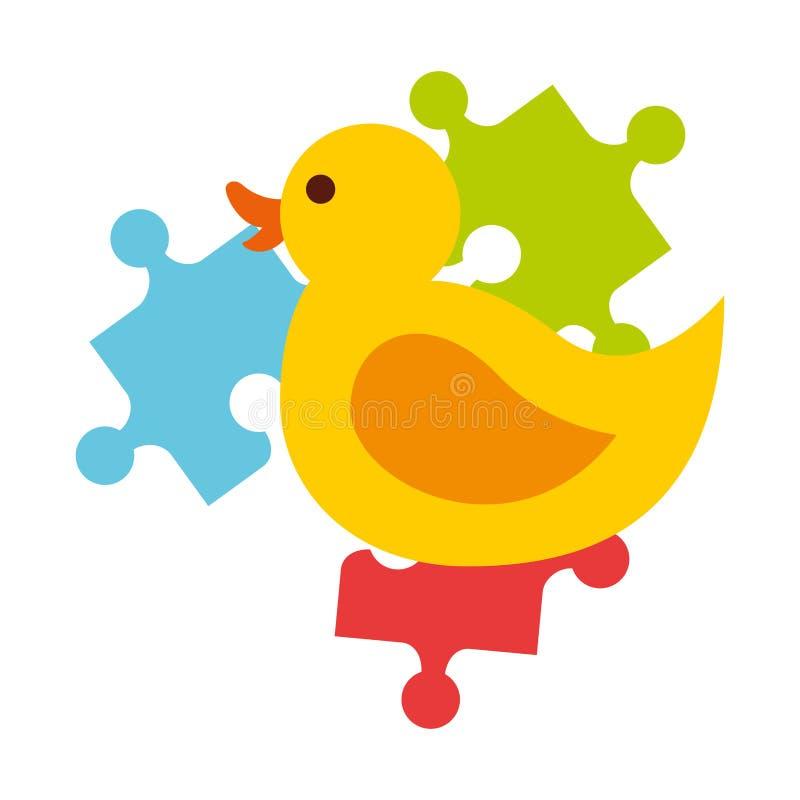El pato y los pedazos de goma desconciertan a ni?os de los juguetes del rompecabezas libre illustration