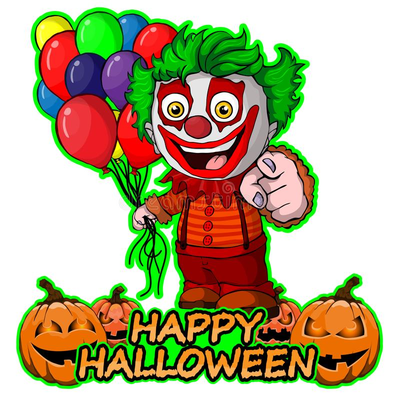 El payaso divertido con los globos desea feliz Halloween en fondo blanco aislado ilustración del vector