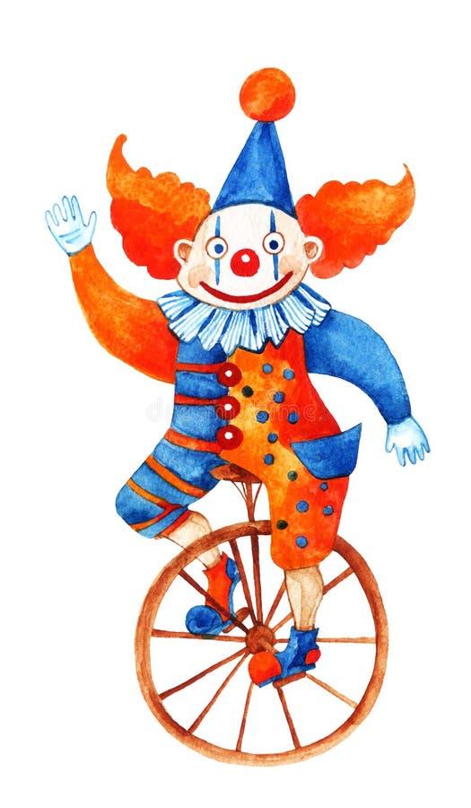 El payaso divertido en el unicycle ilustración del vector