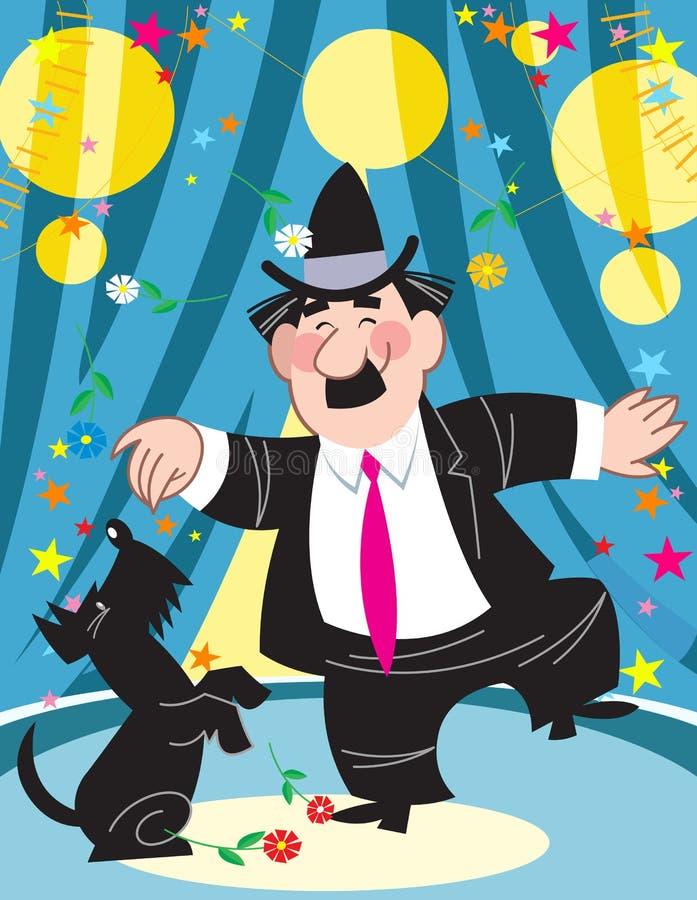 El payaso en el circo con un perro ilustración del vector