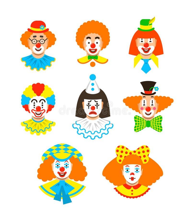 El payaso hace frente a diversos avatares de la historieta stock de ilustración