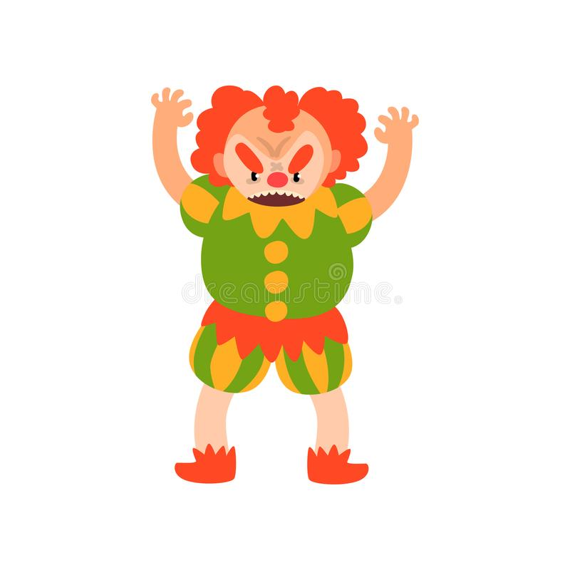 El payaso pelirrojo enojado que se colocaba con los brazos aumentó, ejemplo del vector del personaje de dibujos animados de Hallo ilustración del vector