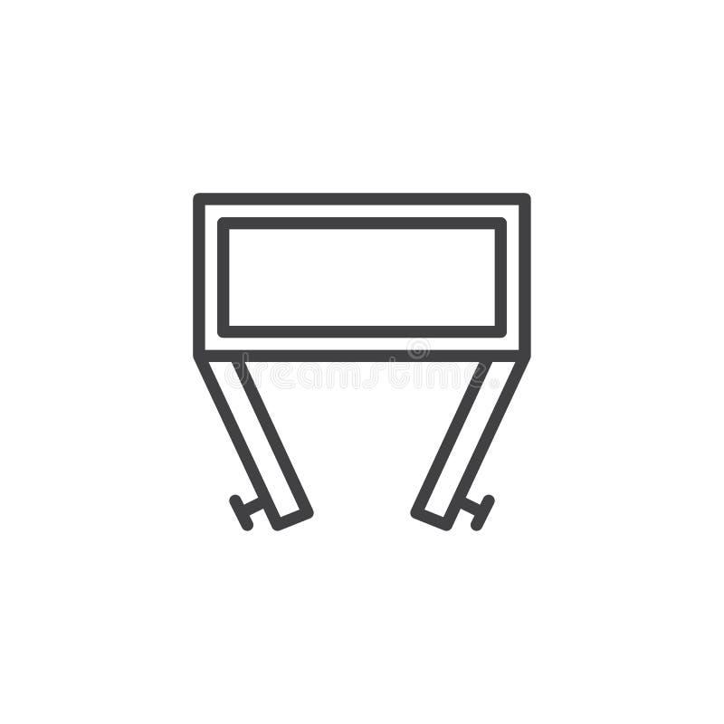 El pecho de cajones con las puertas se abre, icono del esquema de la visión superior ilustración del vector