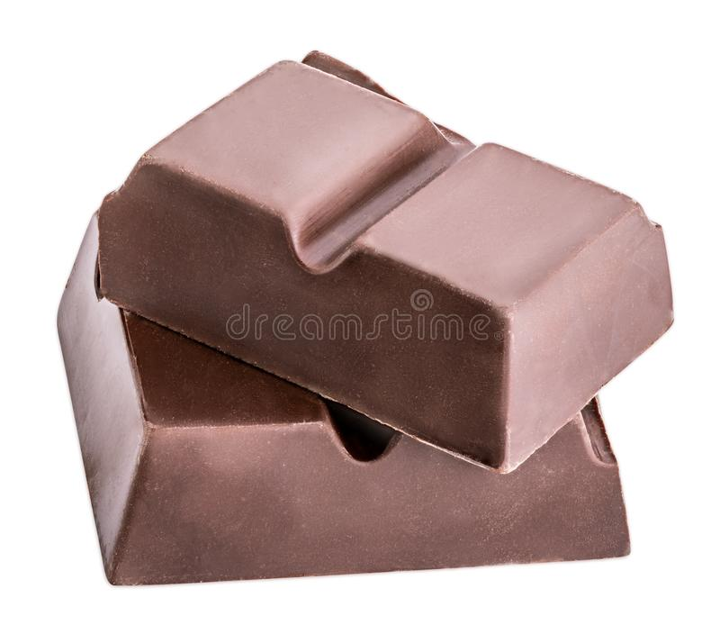 El pedazo de chocolate negro se aísla en un fondo blanco fotos de archivo