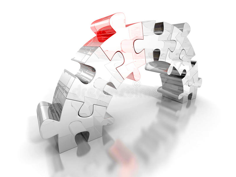 El pedazo de rompecabezas rojo conecta el puente dos grupos Concepto del asunto ilustración del vector